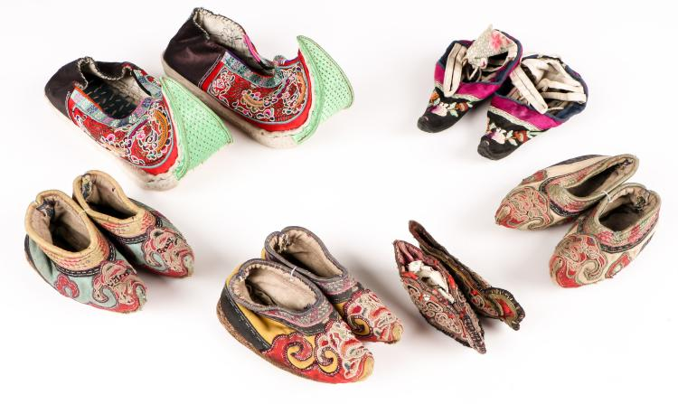 6 Pairs of Antique Chinese Embroidered Shoes