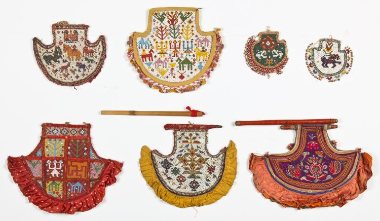 7 Old Indian Beaded Fans