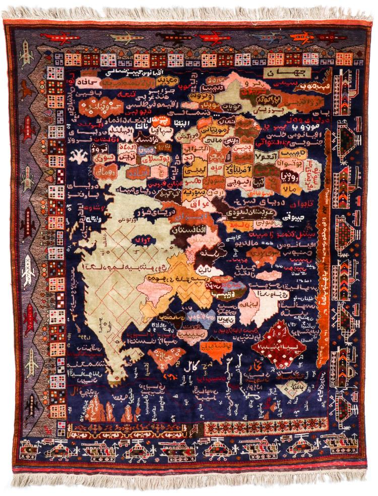 Rare Vintage Map of Afghanistan War Rug: 5'9'' x 7'3''