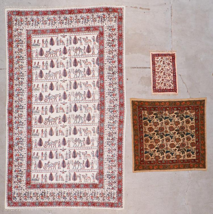 Lot of 3 Persian Block Print Textiles