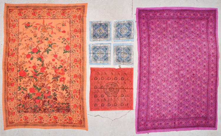 Lot of 7 Old Indian Block Print Textiles