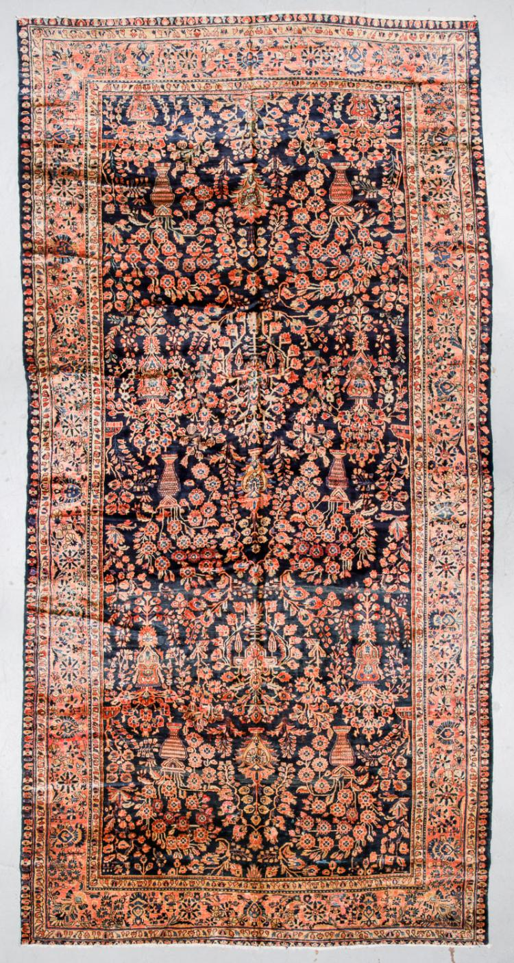 Antique Mansion-Size Blue Sarouk Rug: 9'2'' x 17'9''