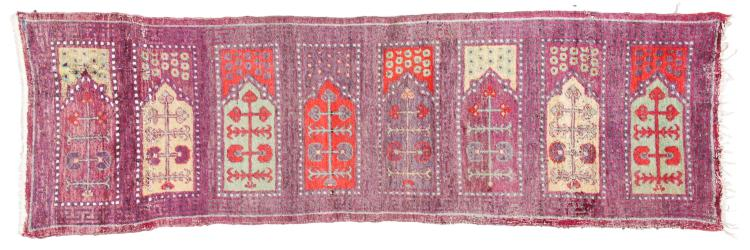 Antique Khotan Saph Rug, China: 8'11'' x 2'8''