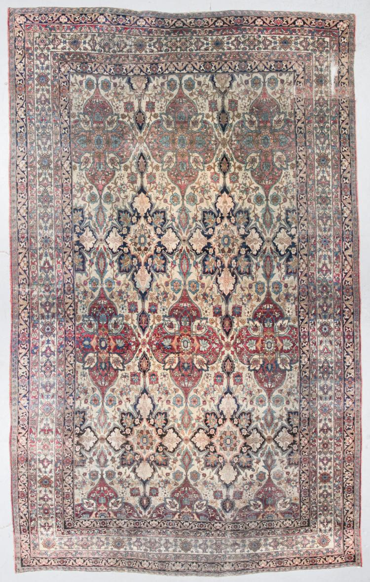19th C. Lavar Kerman Rug, Persia: 10'5'' x 16'7''