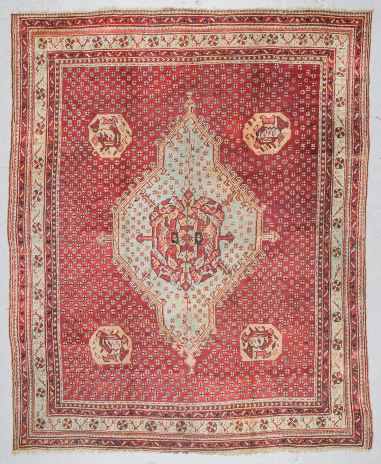 Antique Oushak Rug, Turkey: 8'10'' x 11'