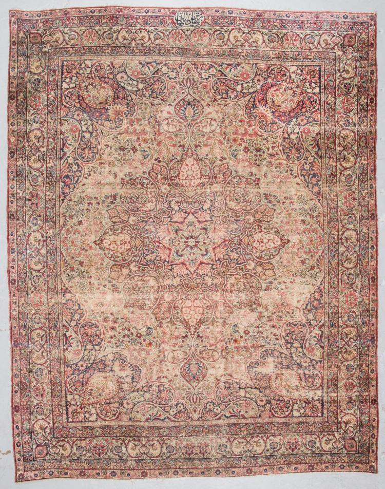 19th C. Dilmaghani Signed Kerman Rug: 9'4'' x 12'