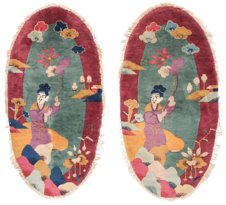 Pair of Oval Art Deco Pictorial Rugs, China 2'1'' x 3'11''