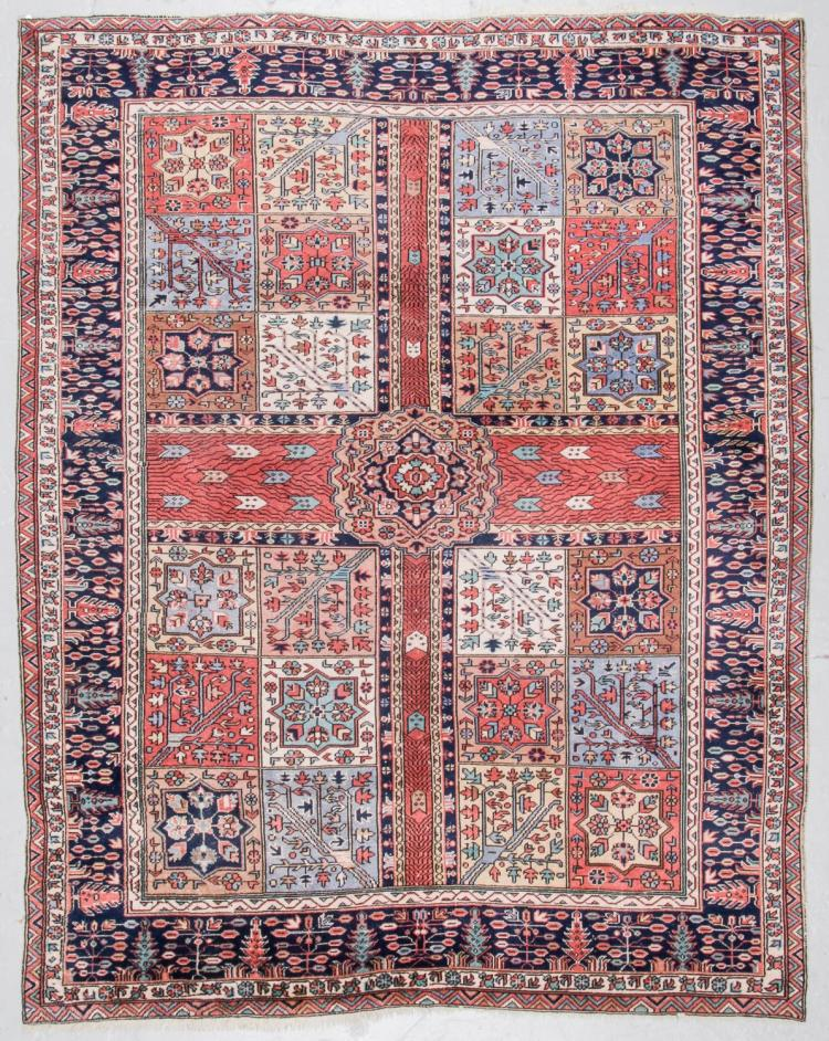 Antique Kurdish Style Garden Rug, Turkey: 7'8'' x 9'7''
