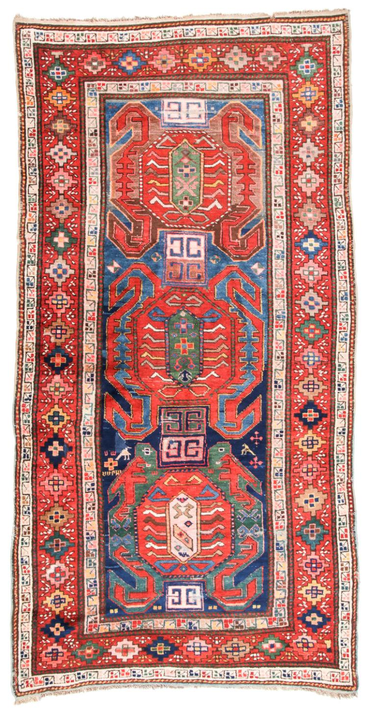 Antique Kazak Rug, Caucasus: 4'2'' x 8'