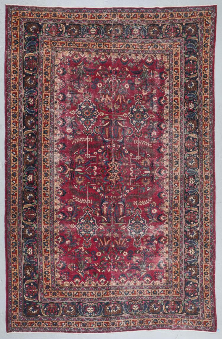 Antique Meshed Rug, Persia: 8'8'' x 13'9''