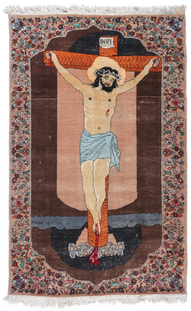 Semi-Antique Tabriz Pictorial Rug Depicting Christ on Cross