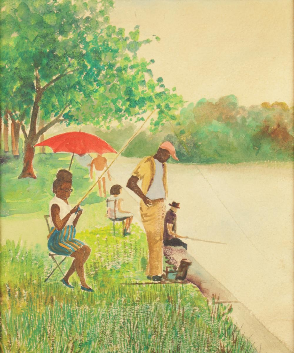 Watercolor of African American Couple Fishing