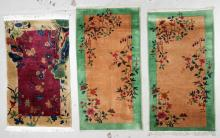 3 Small Art Deco Chinese Rugs, 1930's