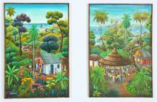 Jean David Boursiquot (Haitian) Two Paintings