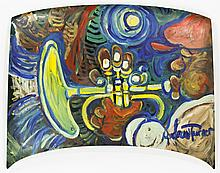 Andrew Turner (1944-2001) Trumpet Player Painting on Car Hood