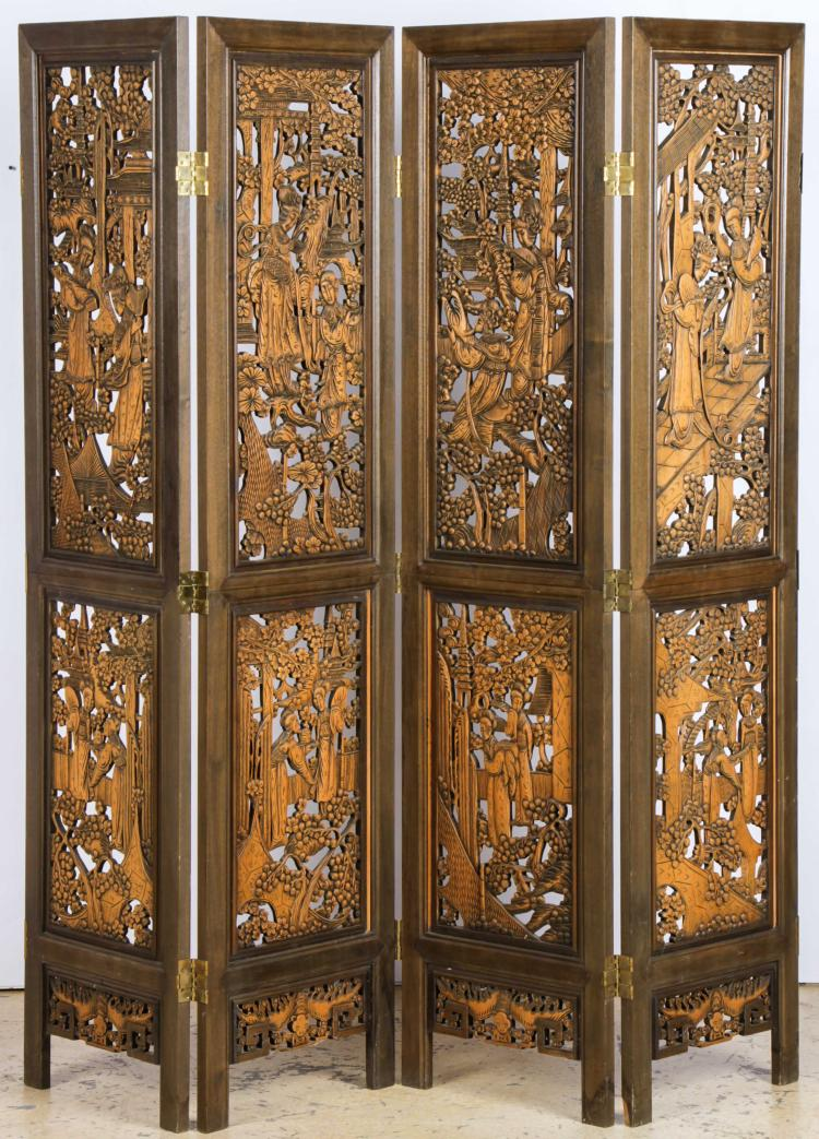 Carved Wooden Screens ~ Chinese pierced carved wooden screen
