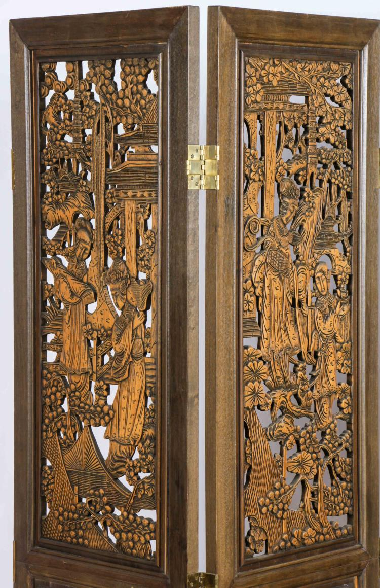 Chinese pierced carved wooden screen