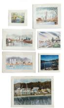 Group of Seven (7) Watercolor Views of Philadelphia and New York City
