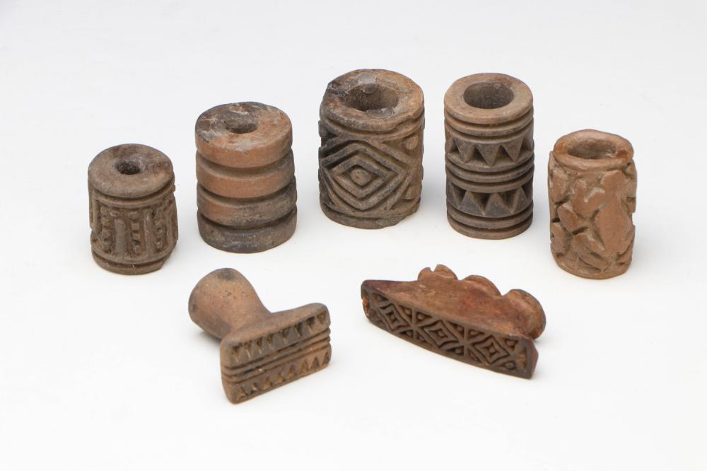 7 Pre-Columbian Cylinders Seals and Stamps, Possibly Ecuadorian