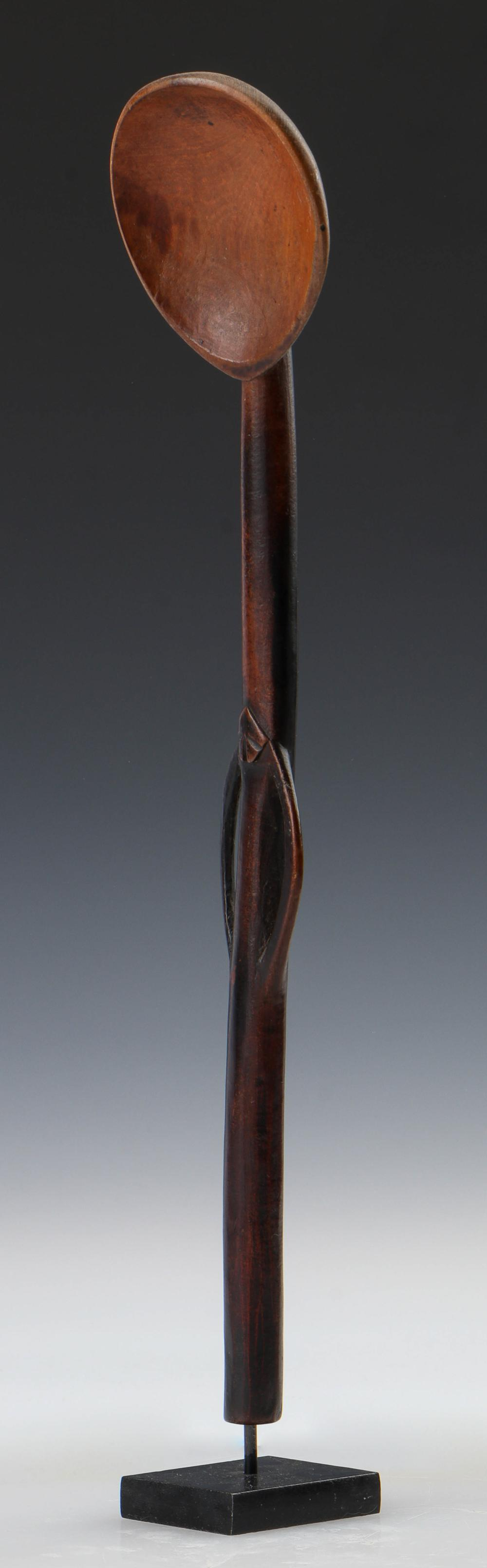 Large African Zulu Spoon with Figure, Early 20th C.