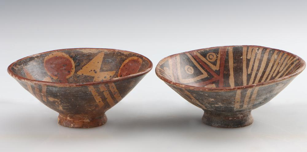 2 Carchi Painted Pottery Bowls, Northern Ecuador, C. 1000-1532 CE