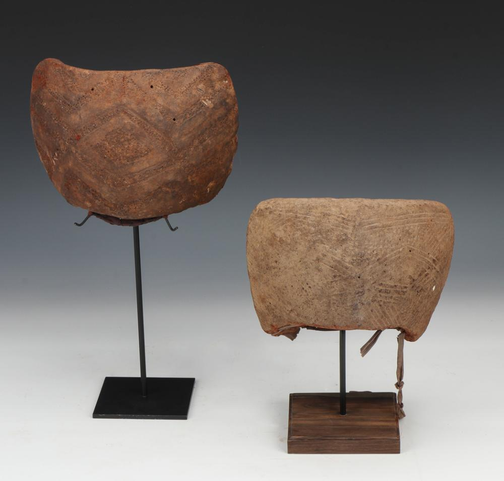 Two Incised Earthen Clay Items, Possible Ritual Headdress
