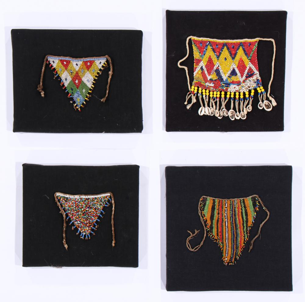 Four African Kirdi Cache Sexe Aprons, Cameroon, Early/Mid 20th C.
