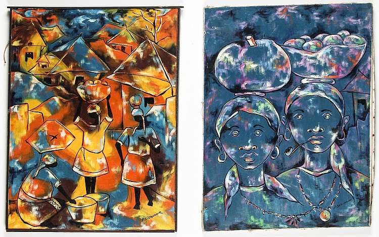 Paul Beauvoir (Haitian, 1932-1972) 2 Oil Paintings