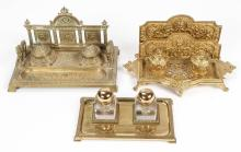 3 Old Double Inkwell Standishes