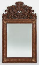 Hand Carved Acanthus Crested Mirror