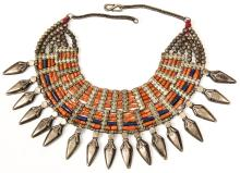 Tribal Coral and Silver Alloy Necklace