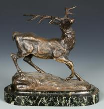 French Bronze Figural Deer Sculpture
