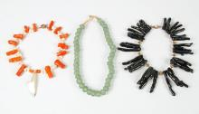 Coral and Sea Glass Costume Jewelry Necklaces