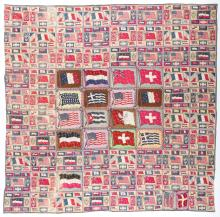 Antique American Cigar-Felt Quilt, International Flags