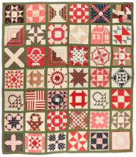 Fine Antique American Friendship Quilt: 102'' x 88''