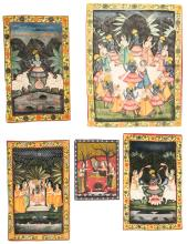 Collection of 5 Old Pichwai Paintings on Cloth, India