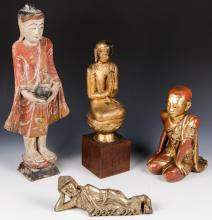Estate Collection of 4 Carved Wood Buddha Figures
