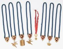 Group of 8 Masonic or Odd fellows Ceremonial Pendant Necklaces