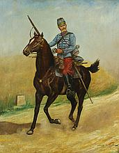 French School (19th c.) Cavalry Officer on Horseback