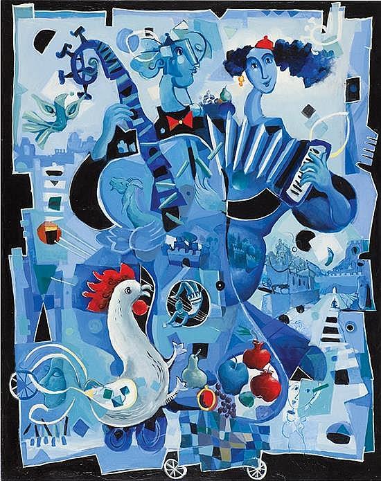 Touvia b. 1980 (Israeli) A song of joy in Jerusalem oil on canvas