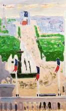 **Jean Jules Louis Cavailles 1901-1977 (French) Les Champs-Elysees, Paris (Project for Chemins de Fer) oil on canvas