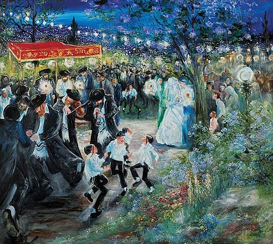 **Huvy b.1927 (Israeli) Outdoor wedding in Jerusalem oil on canvas
