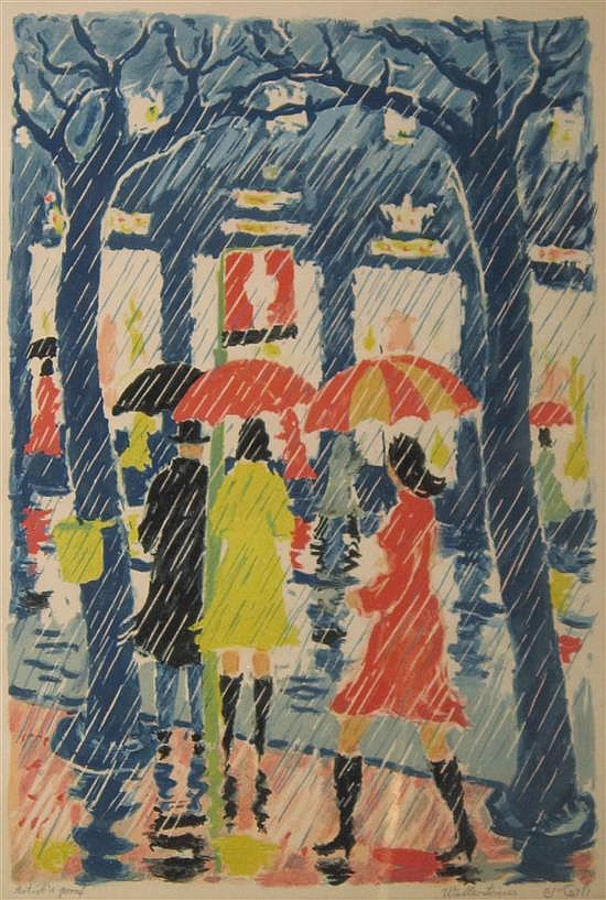 Yehuda Wallersteiner b. 1915 (German-Israeli) Women in the rain lithograph