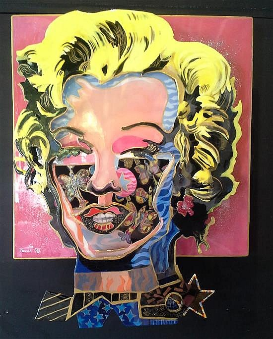 Touvia b.1980 (Israeli) Marilyn Monroe mixed media on cut aluminum