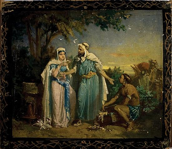 Italian school 19th century Rivka and Eliezer oil on panel