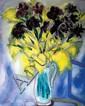 Reuven Rubin 1893-1974 (Israeli) Mimosas and black irises oil on canvas
