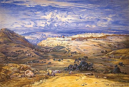 **Ernst Hildebrandt 1833-1924 (German) Jerusalem, 1852 watercolor on paper