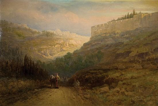 **Samuel Lawson Booth 1836-1926 (British) View of Jerusalem with travellers on the roadside, 1905 oil on canvas