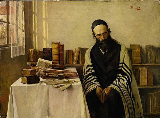 **Alois Heinrich Priechenfried 1867-1953 (Austrian) A scholar in his study oil on panel