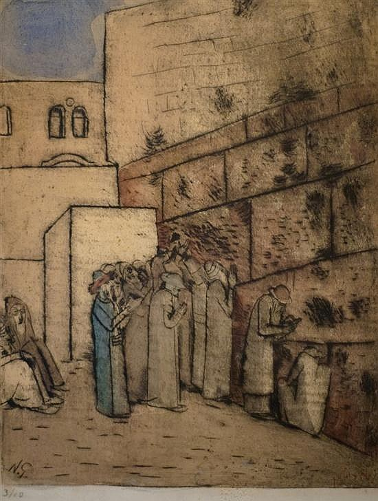 Nachum Gutman 1898-1980 (Israeli) Jews at the Wailing Wall hand colored etching